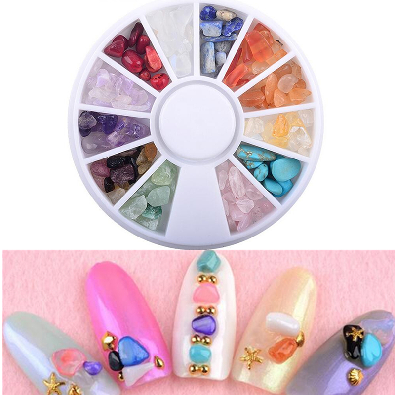 12 colors irregular natural stone 3d tips crystal gems for 3d nail decoration