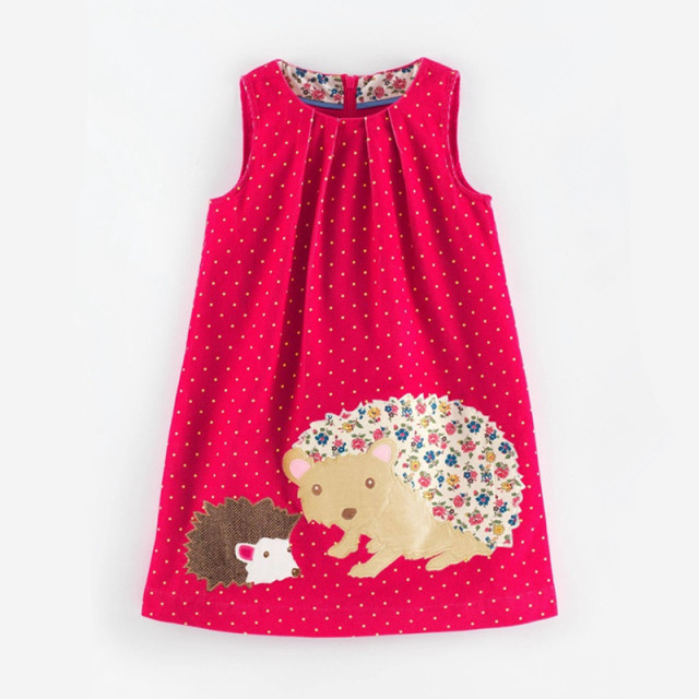 Girls Fall Dress Sleeveless Vest Girls Dress Cute Animal Pattern Flannel Children Clothing Brand Kids Clothes 2-7 Yrs
