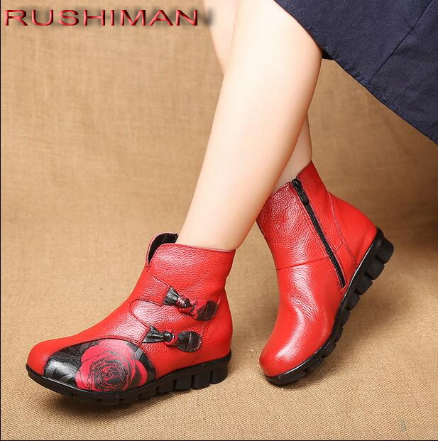 RUSHIMAN NEW Genuine Leather Ankle Boots Wome'n Handmade Flat Boots Shoe Folk Style Comfortable Casual Shoe Women RED Boots