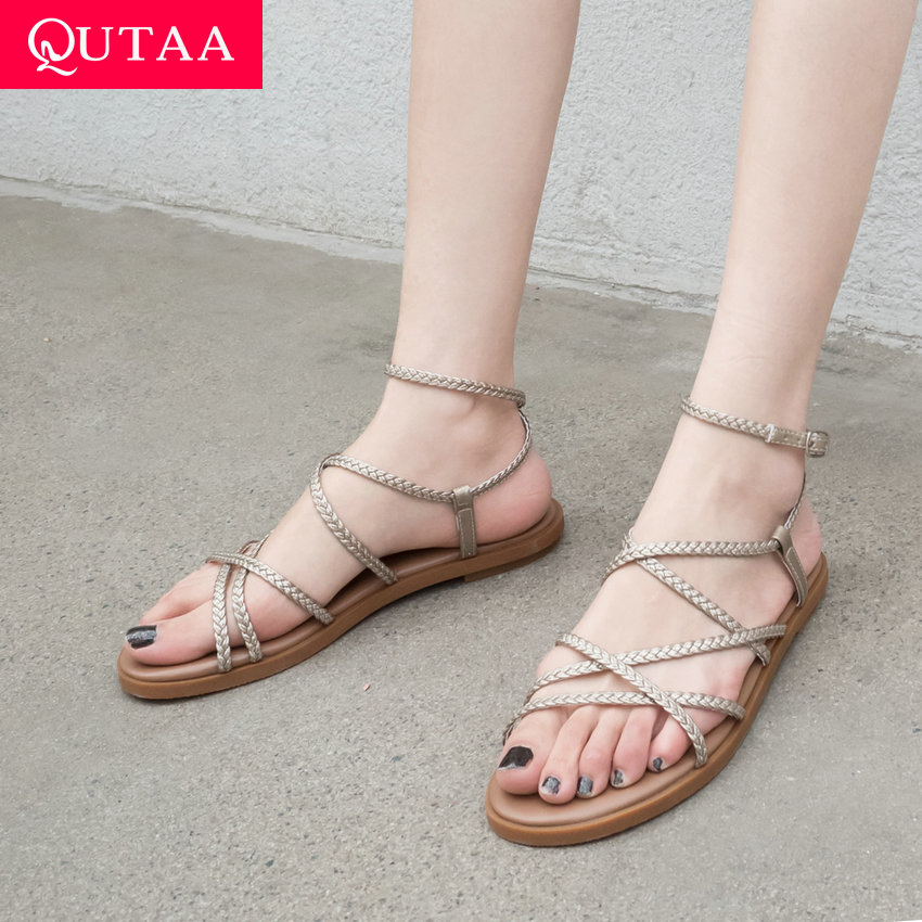 QUTAA 2019 Women Bandage Sandals Weave Narrow Band Cow Leather Round Open toed Buckle Anti skid