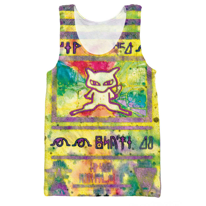 2018 Men   Tank     Tops   3D Print Anime Character Drink Pattern Sleeveless Shirt Striped Vest Bodybuilding Stringer Special Link