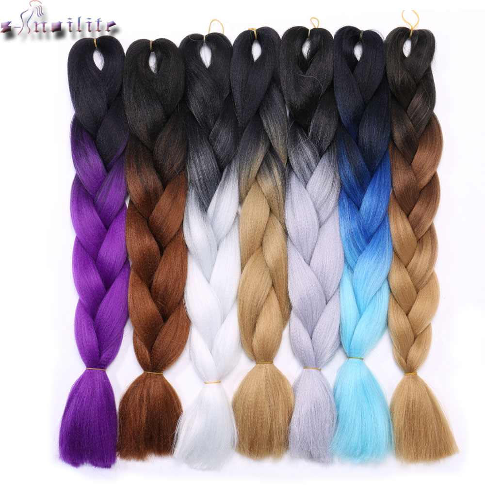 Hair Extensions & Wigs S-noilite 3pcs/lot 24 Kanekalon Jumbo Braids Bulk Synthetic Hair African Braiding Hair Style Crochet Hair Extensions 2 3 Tone