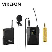 Microfone profissional uhf sistema de microfone sem fio lapela lapela lapela microfone receptor + transmissor para filmadora gravador microfone