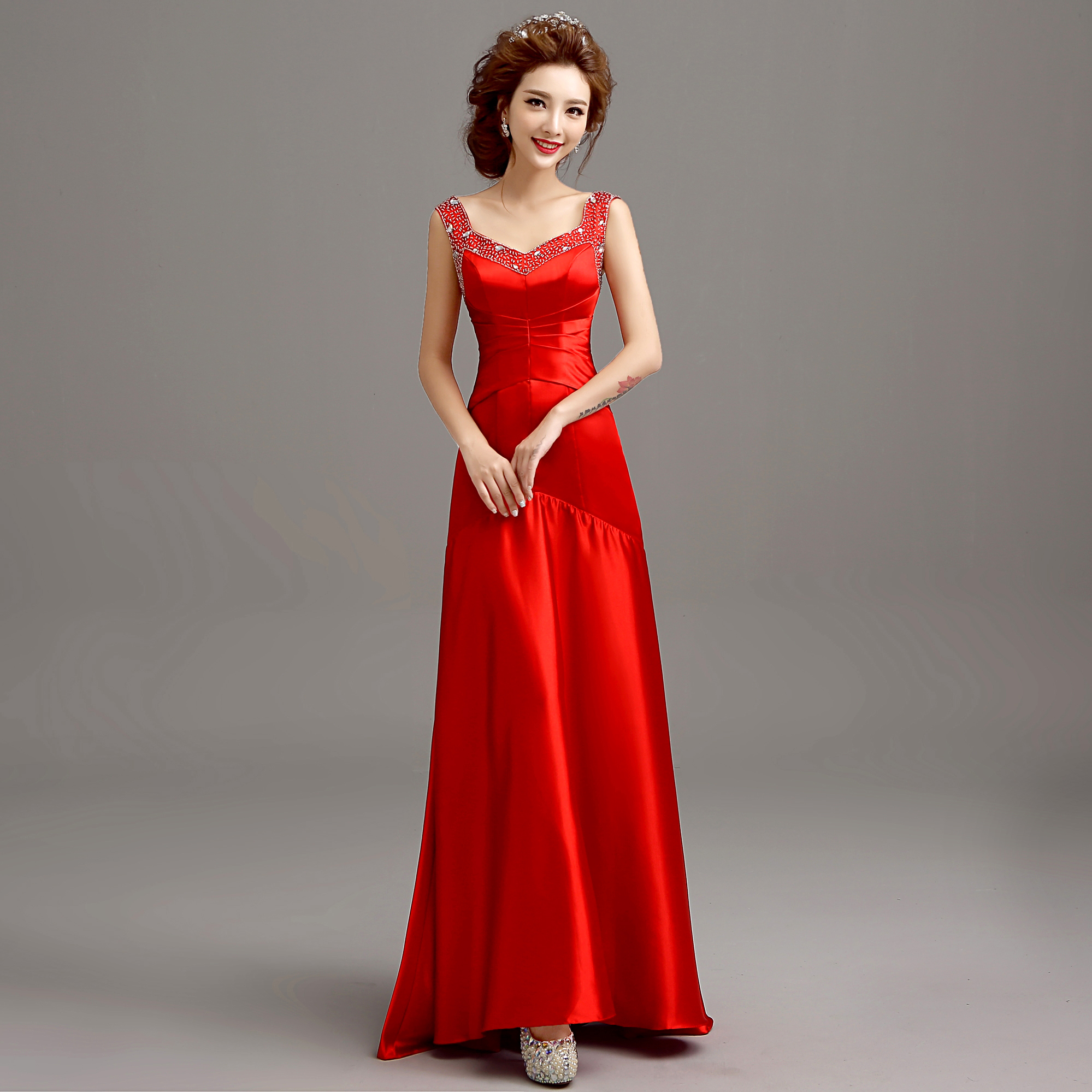 Z 2016 new arrival stock maternity plus size bridal gown evening z 2016 new arrival stock maternity plus size bridal gown evening dress red slim fish tail satin sexy long 311 in evening dresses from weddings events on ombrellifo Image collections