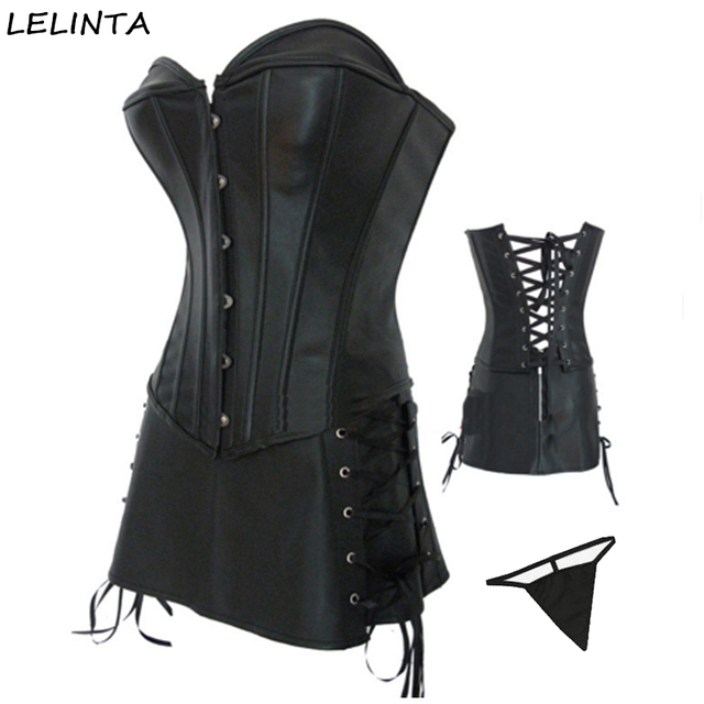 254f61af5c3 Women s Black Red Steampunk Gothic Corset Faux Leather Corsets Dress Waist  Trainer Cincher Bustier with G-string Plus Size