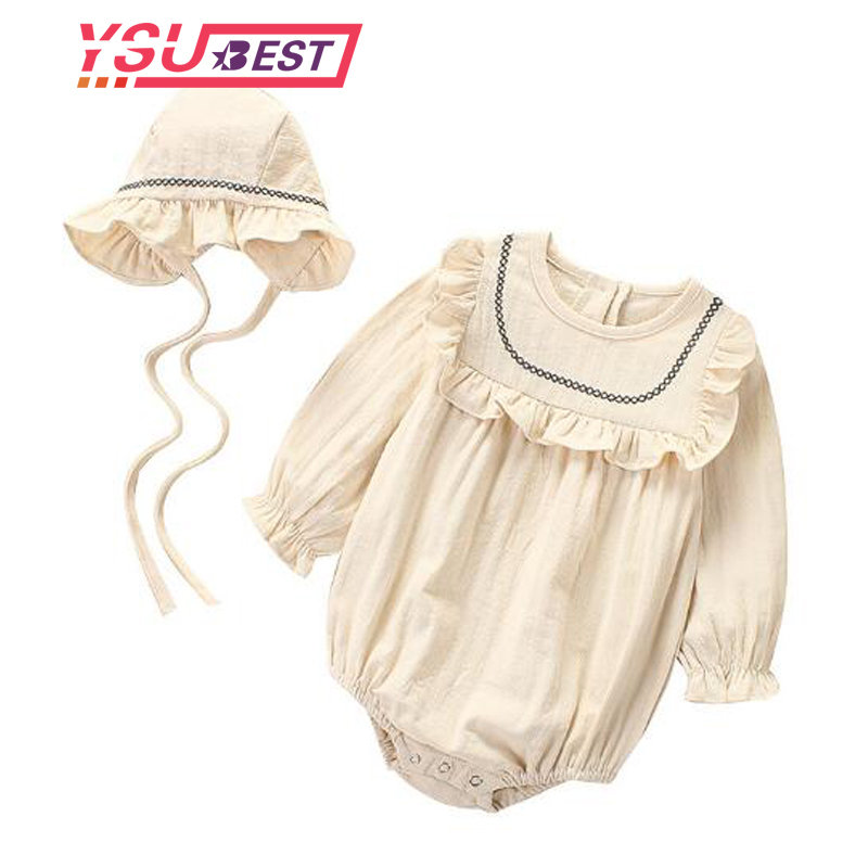 Baby Girl   Romper   2019 Newborn   Romper   Baby Clothes Summer Girl Long Sleeve Cotton Clothes Princess Infant Girls Jumpsuit With Hat