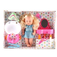 Child Bathtub Dressing Table Play Set Doll Furniture Bathroom Accessories Plastic Hairdressing Tool Kid Doll Kits Christmas Gift
