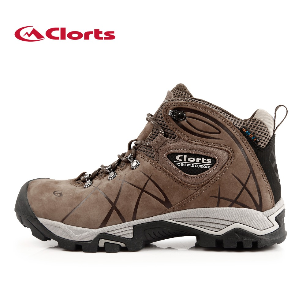 Clorts 2017 Men Outdoor Hiking Boots Waterproof Non-slip Mountaineering Shoes Real Leather Trekking Hiking Shoes HKM-802A clorts men trekking shoes 2016 waterproof breathable outdoor shoes non slip hiking boots sport sneakers 3d028