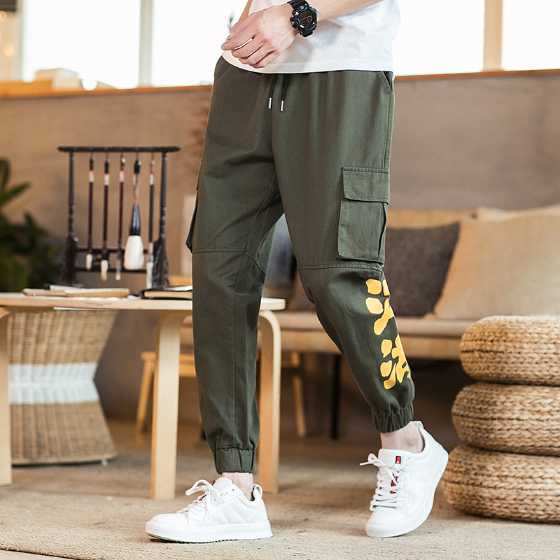 Nice Mr-donoo Chinese Letter Printed Cargo Pants Military Style Fashion Trousers Slim Fit Joggers Pants Men Streetwear Qt4015-k07 To Adopt Advanced Technology Men's Clothing