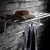 Aluminum Double Bathroom Towel Rack Shelf Wall Mounted Suction Cup Towel Holder For Hotel Rail Toalheiro