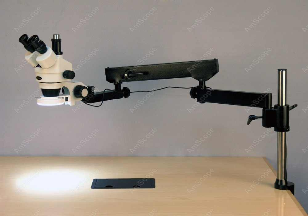 Bras articulé Microscope-AmScope fournitures 3.5-225X trinoculaire bras articulé pilier pince 144-LED Zoom Microscope stéréo