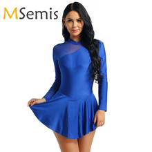 Women Adult Figure Skating Costumes Gymnastics Leotard Women Ballet Leotard Dress Skating Dress Long Sleeve Neck Halter Dress