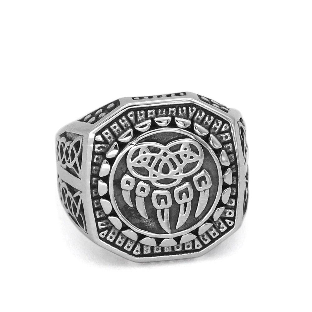 Men Nordic Viking wolf paw vantage ring jewlery stainless steel with valknut gift bag