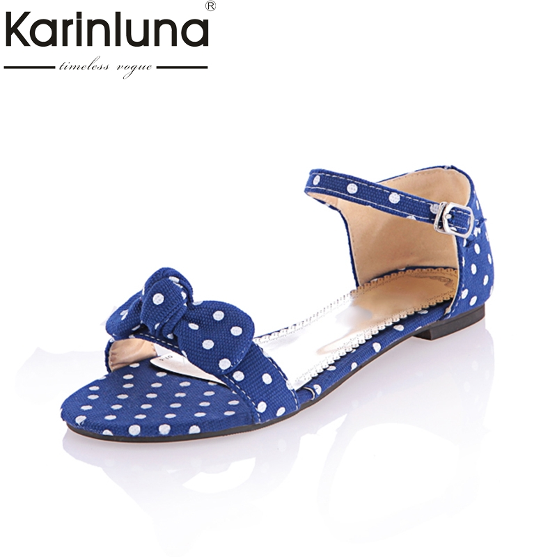 Karinluna 2018 Fashion Size 34-44 Bowtie Women Summer Shoes Woman Buckle Strap Square Low Heels Black Red Sandals Shoes women sandals fashion low heels sandals for summer shoes woman ankle strap flats sandals shoes soft bottom casual shoes 35 44