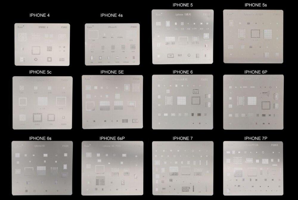 1pcs IC Repair BGA Rework Reballing Stencils For IPhone 4 4S 5 5S 6S 6 6 Plus 7 7+  Mobile Phone Repair Heating Tools