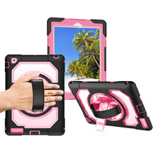 For iPad 2/3/4 Miesherk Case Casual Style Anti-Fingerprint Shockproof Tablet with 360 Rotating Leather Hand Strap + Stand