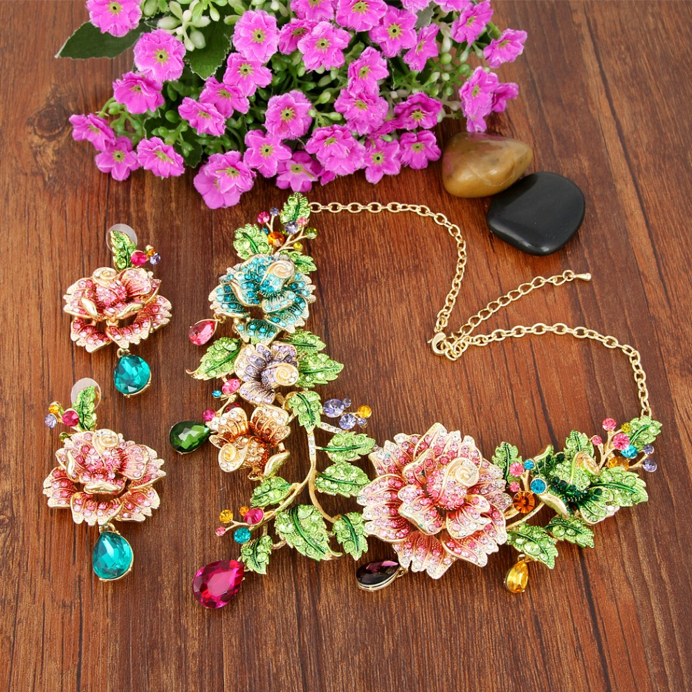 Tuliper Leaf Rose Flower Necklace Earrings Set Austrian Crystal Teardrop Jewelry Set For Party Jewelry Valentine Best Gift-in Jewelry Sets from Jewelry & Accessories    1