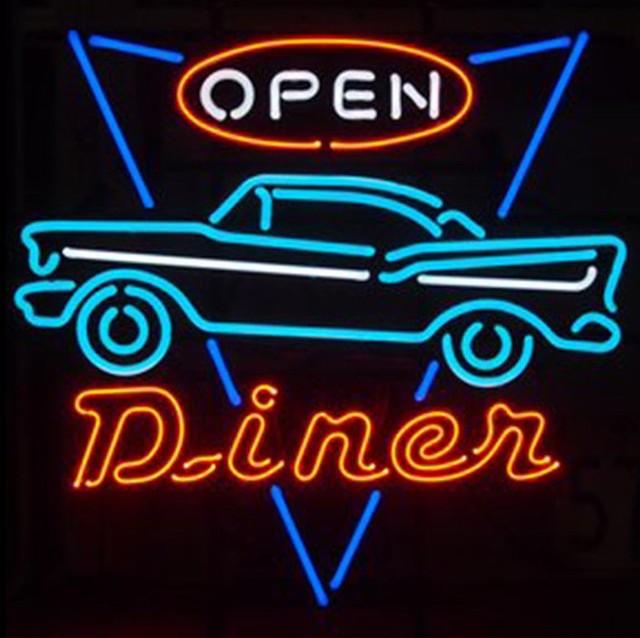 Custom Car Open Glass Neon Light Sign Beer Bar