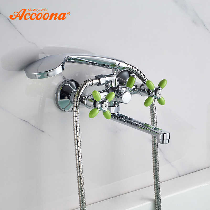 Accoona Bath Bathtub Faucet Mixer Tap With Hand Sprayer Shower Head Bathroom Taps Colorful Bathroom Bathtub Faucets A6482