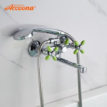 Accoona bateria do wanny wannowej bateria z opryskiwacz ręczny głowica prysznicowa krany łazienkowe kolorowe baterie łazienkowe A6482 tanie i dobre opinie Współczesna Podwójny uchwyt Galwaniczne Zimnej i Ciepłej Podwójny uchwyt podwójna kontrola ceramic