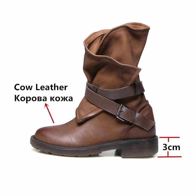 FEDONAS אופנה נשים מזדמן בסיסי מגפי עור אמיתי סתיו חורף חם נעליים למעלה איכות עגול הבוהן פאנק רטרו Weman