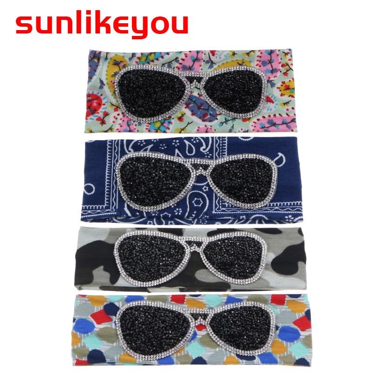 Sunlikeyou Newborn Turban Baby Headband Rhinestone Glasses Cotton Elastic Hair Band Headband For Girls Hair Accessories