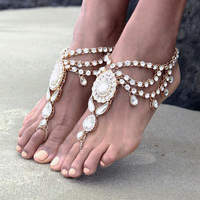 Luxe Nieuwe Mode Bridal Barefoot Sandalen Trouwschoenen, voet Sieraden BEACH Crystal Rhinestone Enkelband Charm Bracletet SC-175