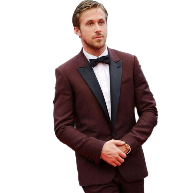 Men's suits leisure suit Maroon Tuxedos Jacket Dark Tuxedo Jacket ...