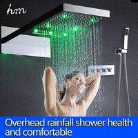 22 LED Thermostatic Shower Set Rain And Waterfall Shower Head Water Saving Hand Shower Valve Waterfall