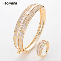 Hadiyana2018 New Luxury Bride Wedding Queen Hand Ornaments Shine Cubic Zirconia Ladies Copper Bracelets Anniversary Gifts BS3001