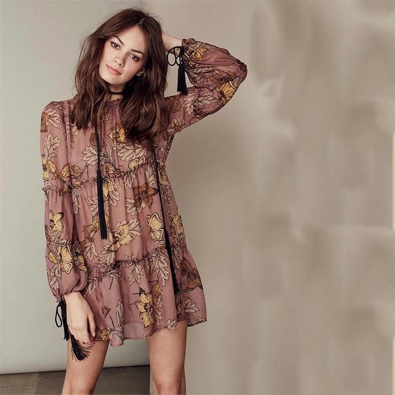 women dress Autumn winter long sleeve ruffle chiffon dress Vintage loose short dress Boho floral print tassel vestidos 12