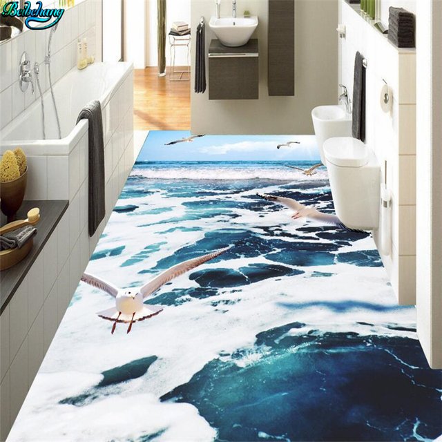 Elegant Beibehang Large Custom Flooring Blue Sky Seagull Sea Wave Flower 3D Floor  Kitchen Bathroom Decoration