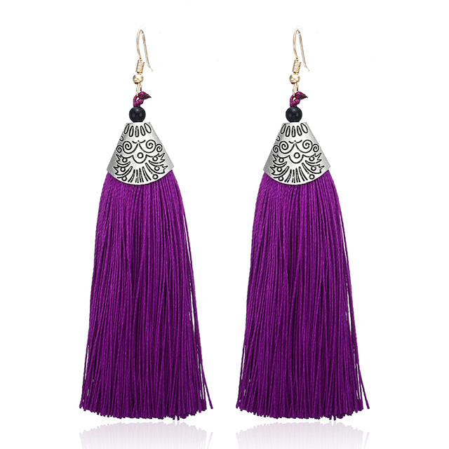 E0478 New Fashion Statement Jewelry Cheap Tassel Long Earring For Women 9 Colors Wedding Dangle Drop Earrings Wholesale