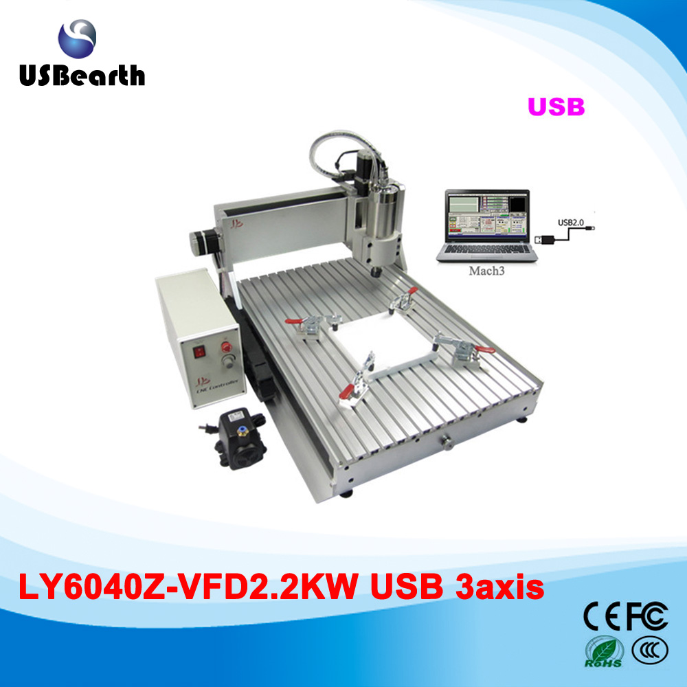 Mini cnc router 6040 2.2kw cnc spindle 3 axis CNC milling machine for metal stone cutting, Russia free tax 6040z vfd 2 2kw usb 4axis 6040 cnc milling machine mini cnc router with usb port russia free tax