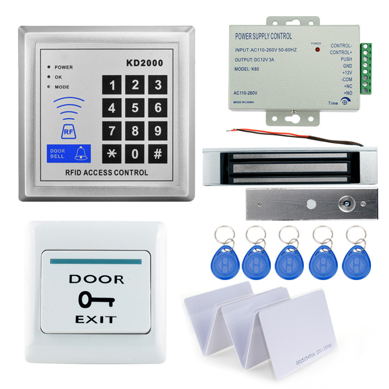 rfid access control access control system keychain reader with lock+power supply +door exit button+keycards support 3000 users rfid em card reader ip68 waterproof metal standalone door lock access control system with eletric lock power supply exit button