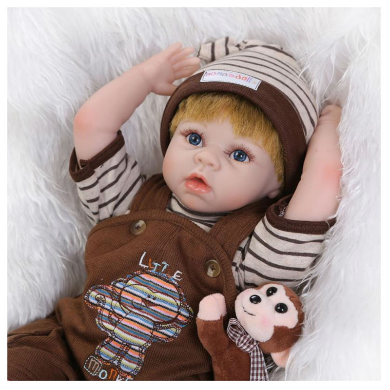 Hot Lifelike Baby Doll with Clothes Blue Eyes,Fashion 50 CM Simulation Silicone Reborn Baby Doll Toys for Children hot newborn doll lifelike baby reborn doll with clothes fashion 37 cm cute silicone reborn dolls toys for children