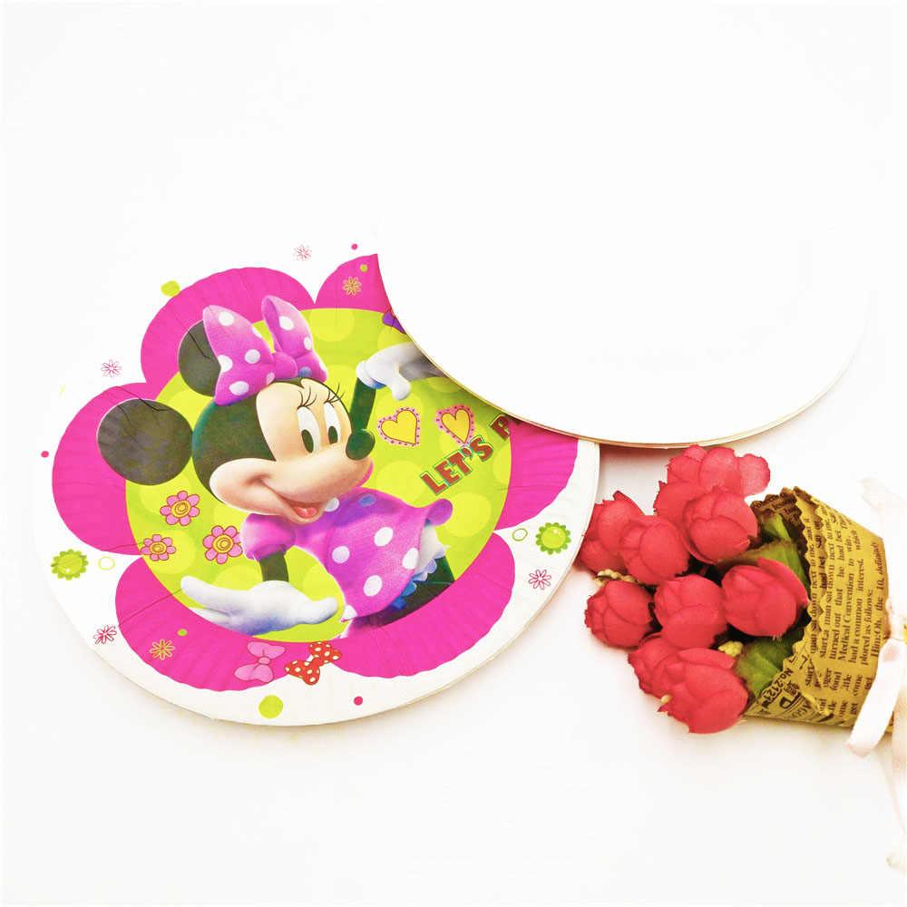10 unids/set platos desechables de papel PARA CENA DE Minnie Mouse decoración para fiesta de bienvenida al bebé artículos para fiestas festejos de feliz cumpleaños vajilla