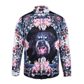 Perro Se Levantó la camisa de primavera Harajuku moda Medusa Medusa impresión Digital camisetas de manga larga floral Retro suéter Hombres camisas de banquetes