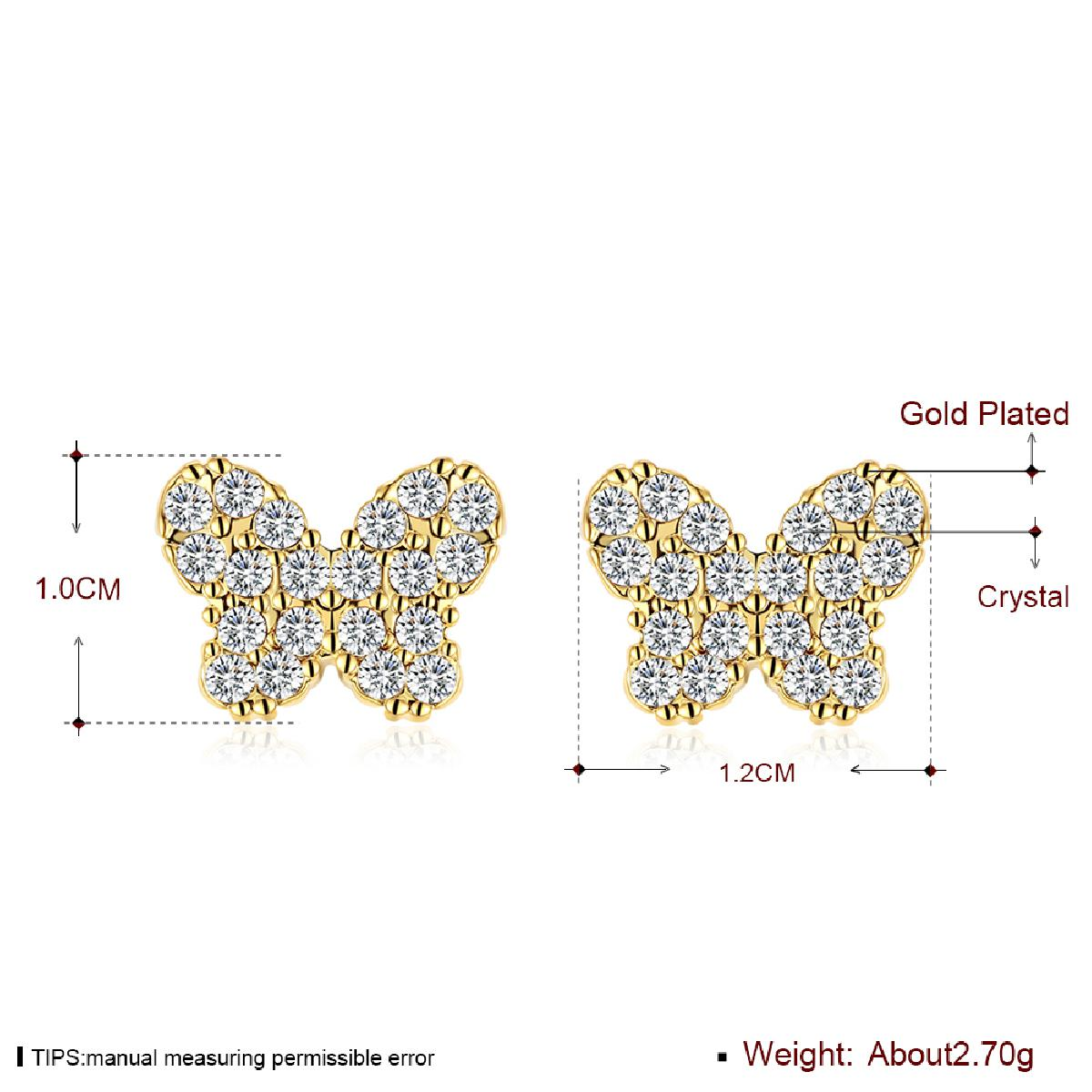 KITEAL New Sale Gold color Perfume women earring butterfly full zircon bowknot Fashion women jewelry cuff bijoux