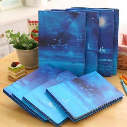 'Beautiful Blue Sky' Hardcover <font><b>Notebook</b></font> A5 <font><b>B5</b></font> <font><b>Lined</b></font> <font><b>Notebook</b></font> Vintage Diary Book image