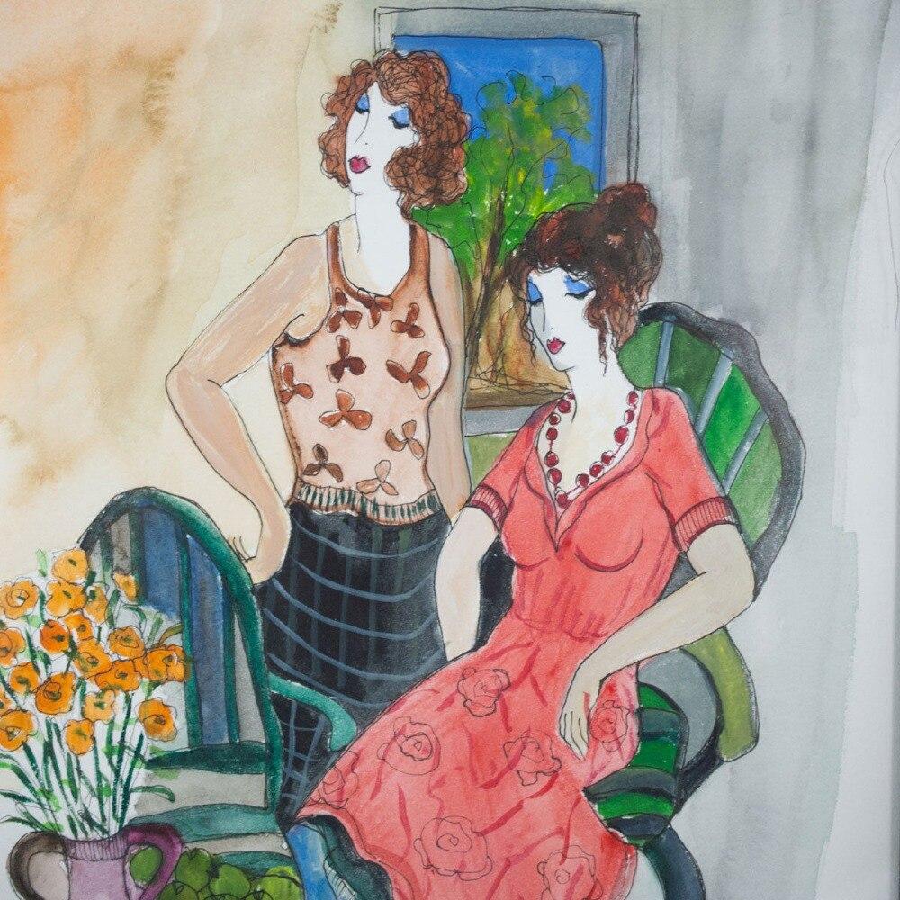 Moderne abstrait femme peinture à l'huile sur toile aquarelle femme Figure Art pour décor maison bière Bar Pub peint à la main pas encadré