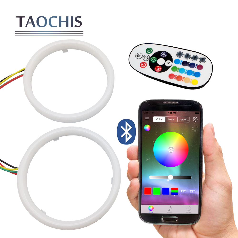 TAOCHIS RGB Angel eyes Mobile Pone APP Remote Control 60mm 70mm 80mm 90mm 95mm 100mm Motorcycle Auto Car Head Light Retrofit ...