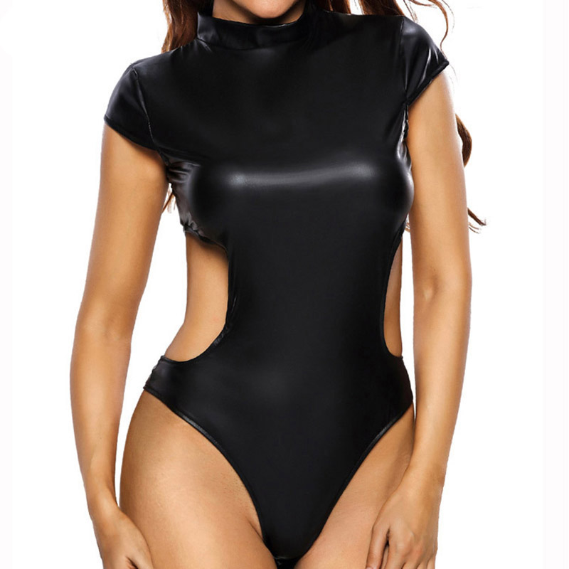 CALOFE Sexy Black Faux Leather Bodycon Bodysuits Women Back Hollow Out Summer Jumpsuits Turtleneck Beachwear Solid Bodysuit