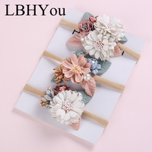 3pcs/lot 0-5T Super Soft Elastic Nylon Headbands With Flowers ,Vintage Floral Hairbands For Girls Hair Accessories
