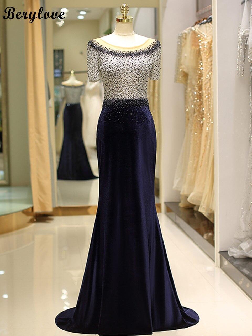 229d7902de US $274.99 |Aliexpress.com : Buy BeryLove 2018 Navy Blue Velvet Mermaid  Evening Dress With Sleeves Long Beaded Lace Evening Gowns Formal Dress  Women ...