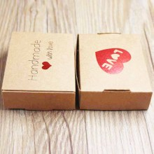 wholesale kraft  paper Gift box With LOVE wedding candy favor display &packing ,Handmade with red hert gift 30pcs per