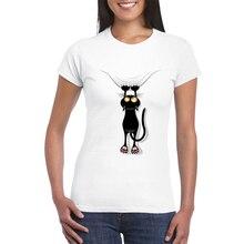 Camiseta de mujer dibujo gato colgado