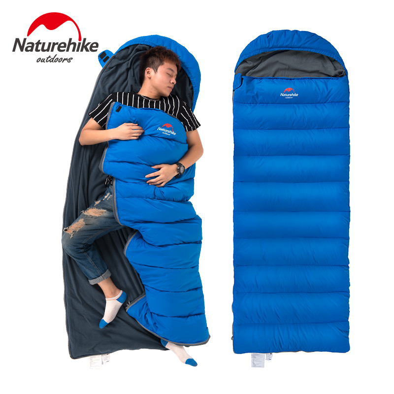 все цены на Naturehike Envelope sleeping bag portable camping hiking outdoor NH15S007-D (190+30)*75CM filling 300G duck down sleeping bag