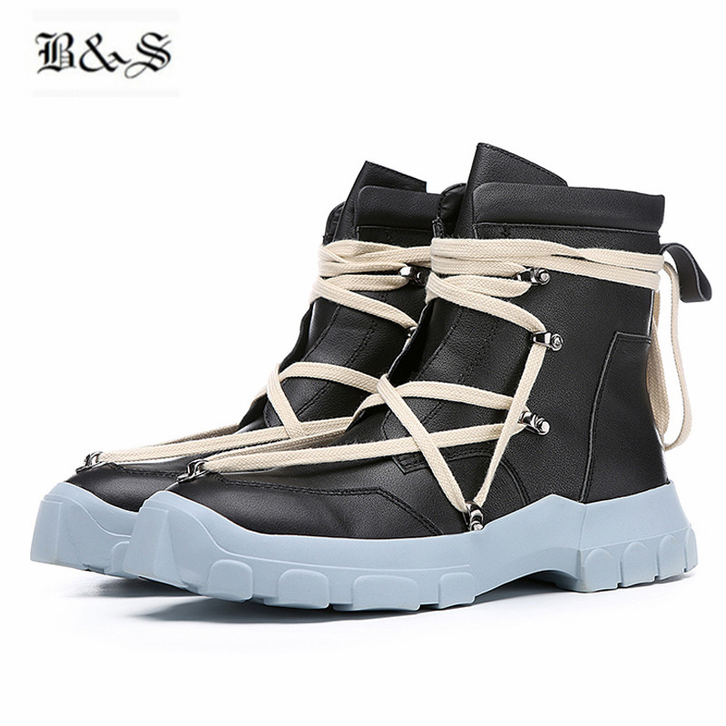 Black& Street 2018 S/S Punk Genuine Leather Platform Martin Boots First Yard Cow Leather Tooling Military boots maisy s first 123