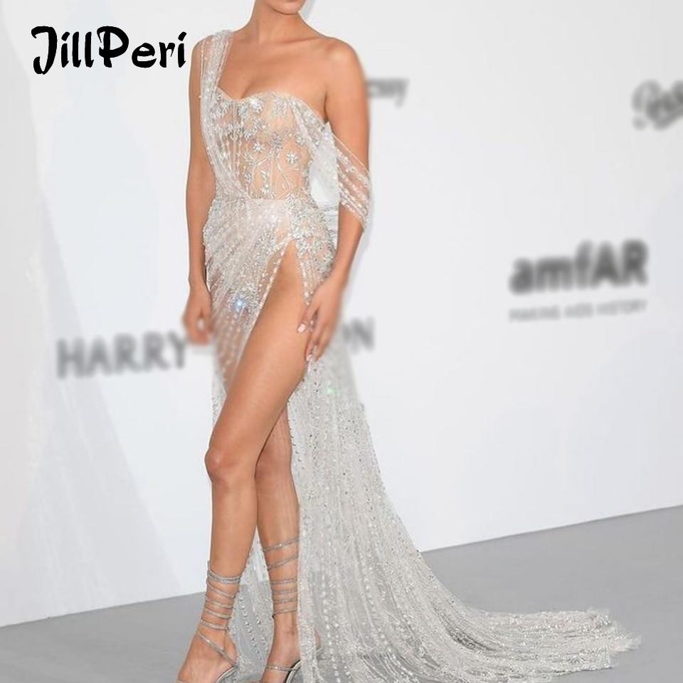 JillPeri Women Strapless Sequin Dress Long Luxury Bling Stars  Silver Gown Leg Open Outfit Party Wear Sexy Bodysuit Maxi DressDresses